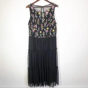 Lane Bryant Floral Sheer Dress Black Imperfect 20